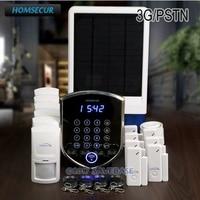 HOMSECUR Wireless WCDMA 3G Home Alarm System +Wireless Solar Outdoor Flash Siren
