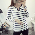 Basic T Shirt Women Long Sleeve Striped Womens Tops 2017 Spring Autumn Tee Shirt Women Korean Style V Neck T-Shirt Plus Size