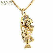 LINDAJOUX Punk 3 Colors Fish Skeleton Charm 316L Stainless Steel Link Chain Pendant Necklaces For Men Male Necklace(China)