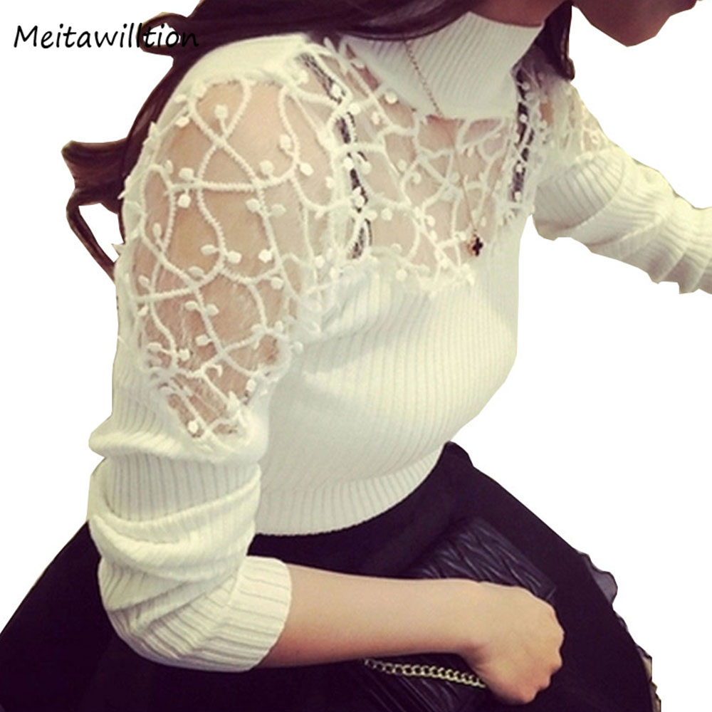 2019 Autumn Winter Women Sweater Turtle Neck Lace Knitted Pullover Female Sexy Knitwear Hollow Long Sleeve Suter Pull Femme