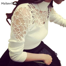 2018 Autumn Winter Women Sweater Turtle Neck Lace Knitted Pullover Female Sexy Knitwear Hollow Long Sleeve Suter Pull Femme