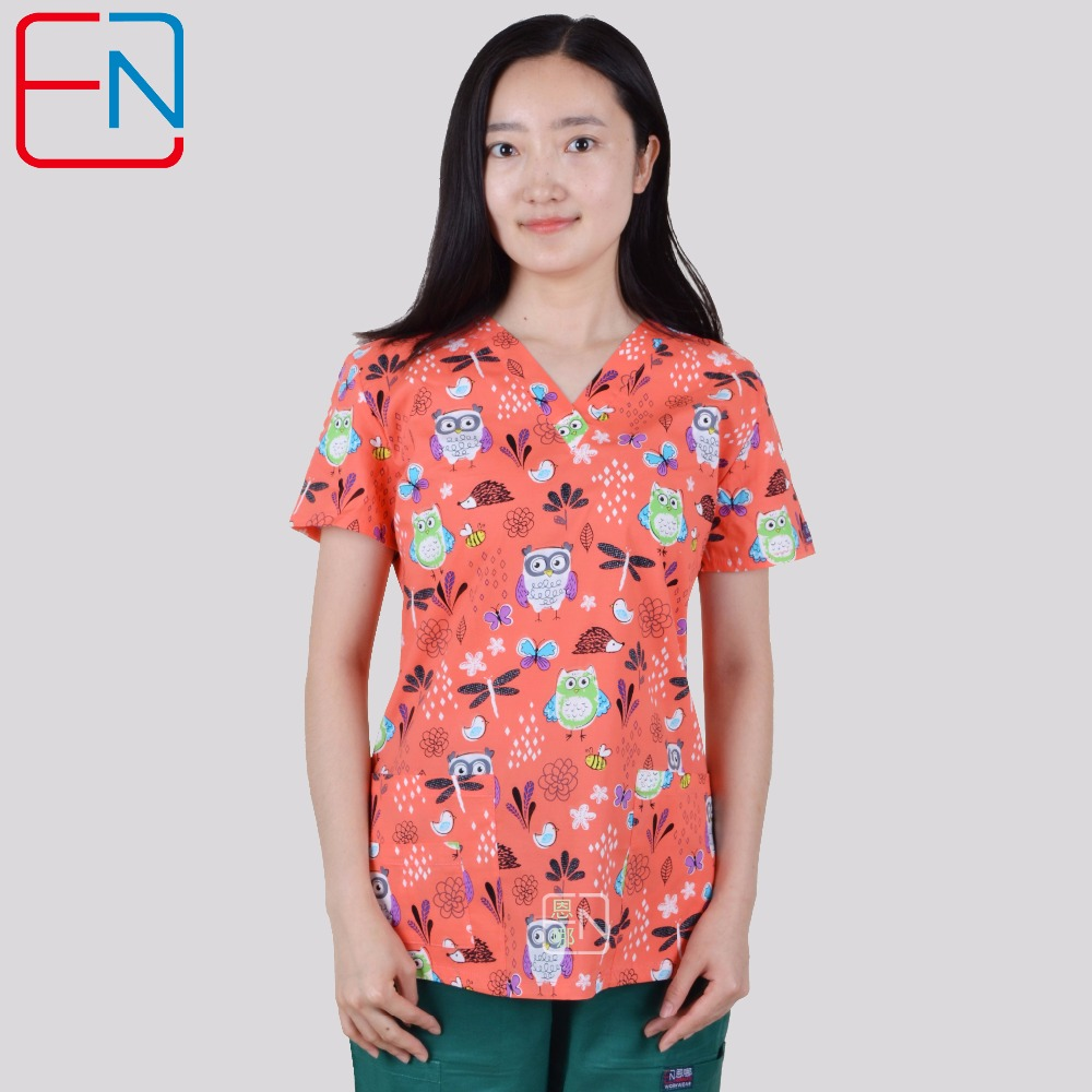 Brand medical scrub tops for women surgical scrubs,scrub uniform in 100% print cotton Chengse maotouyingScrub Tops & Bottoms   -