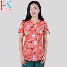 Brand scrub tops for women scrub tops  scrub uniform in 100% print cotton Chengse maotouying