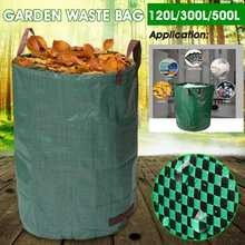 120L/300L/500L Large Capacity Heavy Duty Garden Waste Bag Durable Reusable Waterproof PP Yard Leaf Grass Container Storage(China)