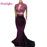 Hot Velvet Two Pieces Prom Dresses Mermaid Lace Appliques Beaded Long Sleeves Sweep Train Evening Party Gowns Arabic Celebrity