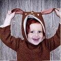 Natal Camisola Do Bebê Da Menina do Menino Roupas de Inverno Engrossar Crianças Casuais Malhas Jumper de Veados Bonito Crianças Camisola Casaco Cardigan