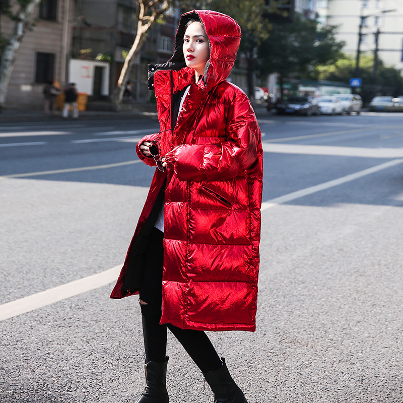 Korean Dongdaemun Women Fashion Winter Coats Zippers Long Red Down Puffer Jacket Bf Style Holographic Glossy Hooded   Parkas   Coat