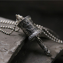 цена на 925 Sterling Silver Buddhism Six Words Rotatable Pendant Women Men OM Mantra Prayer Wheel Mantra Bottle Urn Necklace Pendant