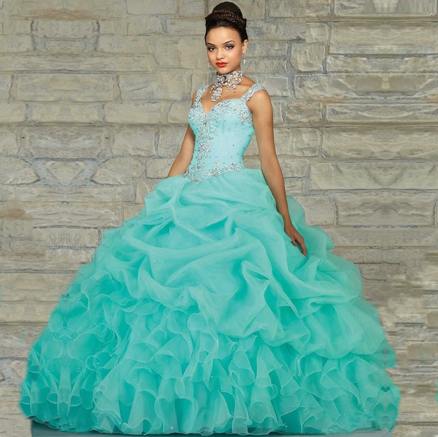 58f669a07ba Mint Green Turquoise Quinceanera Dresses Ball Gown 2016 Ruched Bodice Long  Beaded Pleated Dress 15 Years