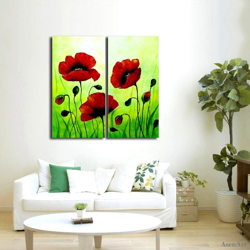 pintado a mano rojo amapolas lienzo pinturas murales de pintura al leo abstracta de la flor verde unidsset para sala de esta