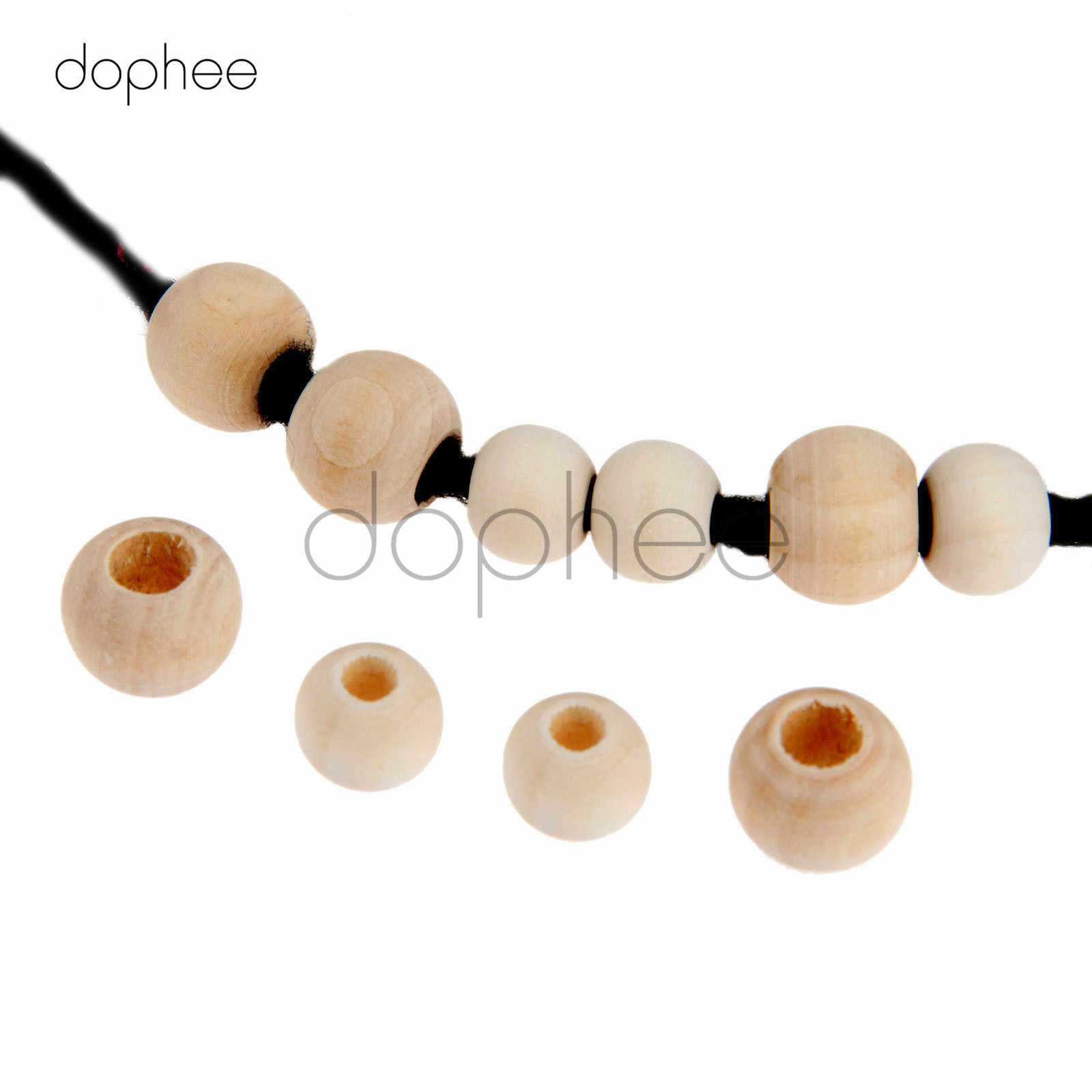 dophee 100pcs 9*10mm/11*12mm Natural Flat Round Wooden Beads Big Hole For Artwork Necklace Making Garment Decoration