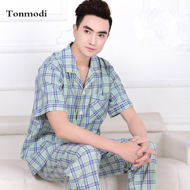 2016 New Pajamas For Men Summer Pyjamas Men Cotton Woven Plaid Sleepwear Short-sleeve Sleep Men lounge Pajama set Loose