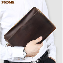 PNDME high quality vintage crazy horse cowhide mens clutch bag business simple long zipper genuine leather wallet phone