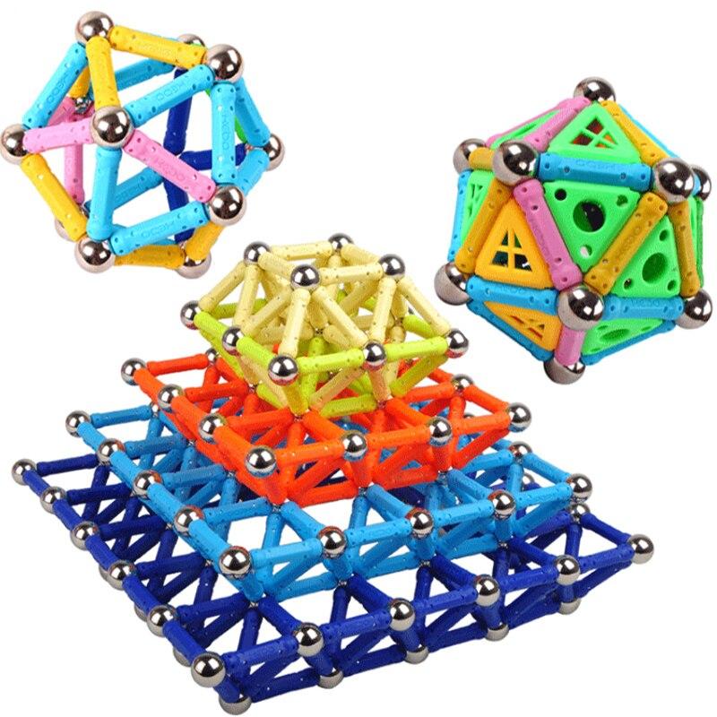 Creative Magnetic Design Blocks Bar Mini Metal Bead Stick Balls Geometric Figure <font><b>Construction</b></font> Kit Toys For Kid Intelligence Gift