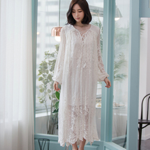 Women Dress Elegant Sleepwear White Lace Nightgown Long Dress Ladies Wedding Dress Party Dress