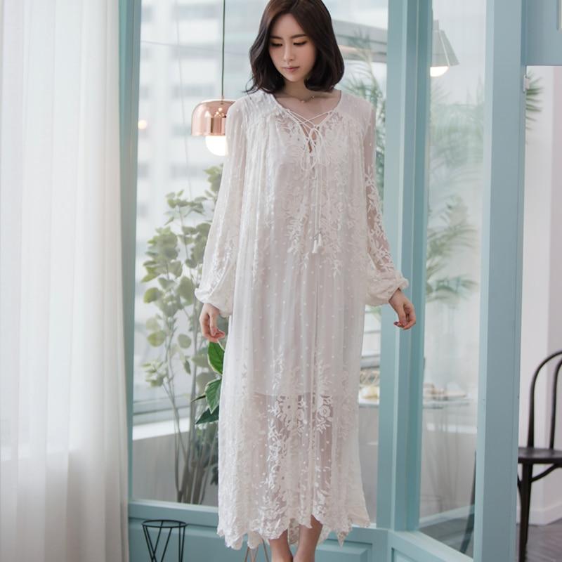 Women Dress Elegant Sleepwear White Lace Nightgown Long Dress Ladies Wedding Dress Party Dress