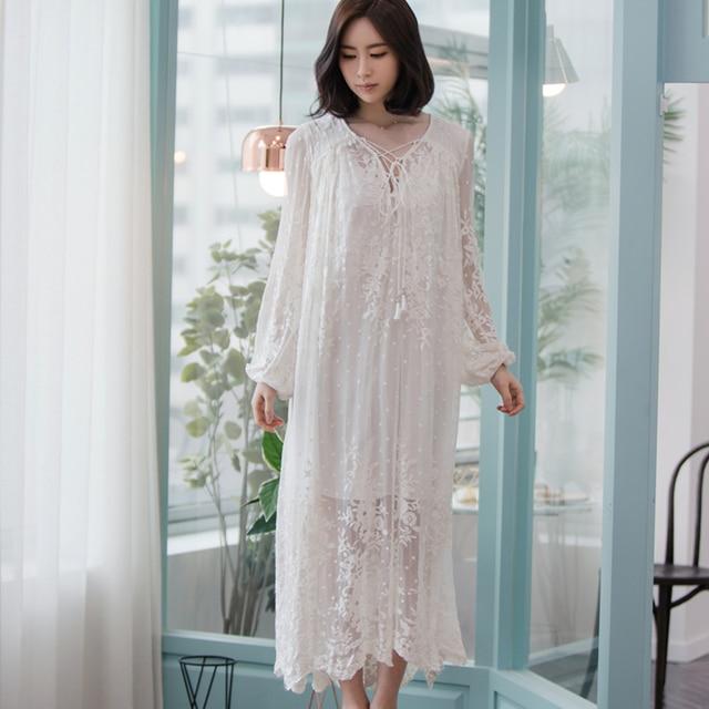 1a0b30783 Women Dress Elegant Sleepwear White Lace Nightgown Long Dress Ladies  Wedding Dress Party Dress