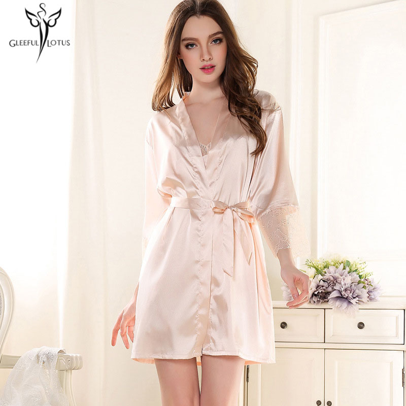 1049bf3c8c8e1 Women Bathrobe Bridesmaid Robes Silk Lace Dressing Gown Home Clothing Pink  Peignoir Female Kimono Bride Robes Sleepwear Chemise-in Robes from Underwear  ...