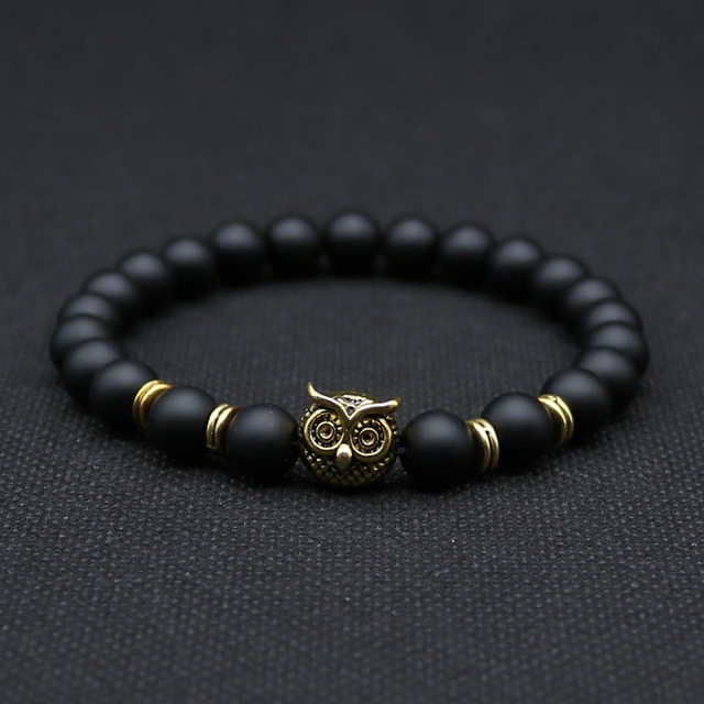 8mm Silver Plated Animal Owl Head Bracelet With Natural Black Lava Rock Stone Energy Men Beaded