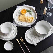 Европейские цветные тарелки в горошек керамический набор посуды костяного фарфора десерт неглубокая тарелка лапша салат закуски, торт тарелки Посуда