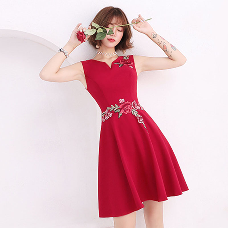Floral Print Elegant   Cocktail     Dresses   Short Women Abiti Da Cerimonia Da Sera Sexy Sleeeveless Evening Gown Burgundy Robe De So