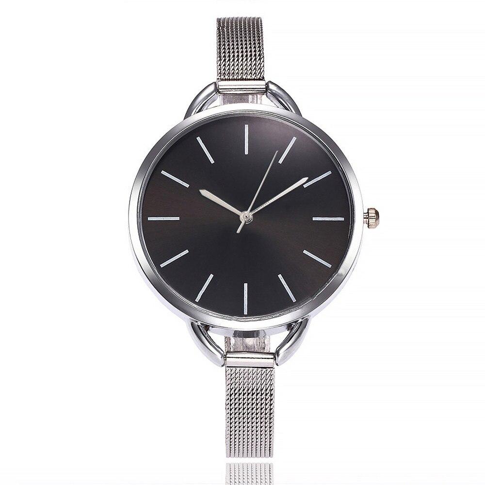 Fashion Large Dial Women Watches Casual Fine Stainless Steel Mesh Belt Bracelet Watch Quartz Ladies WristWatch Clock Kol Saati#B