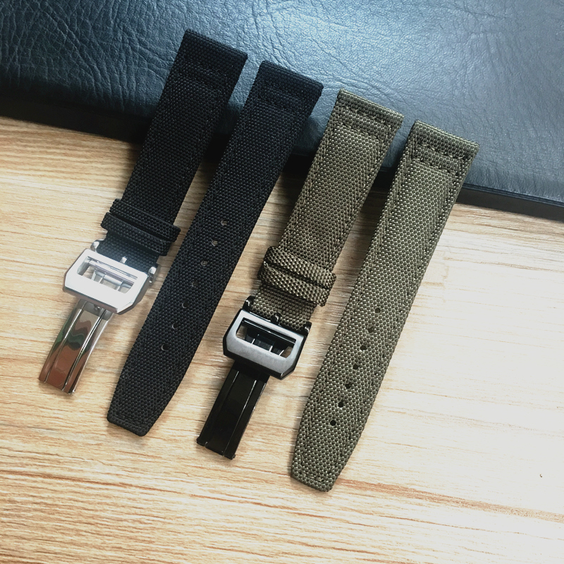Image 2 - MERJUST 20mm 21mm 22mm Green Black Nylon Leather Watch Strap Canvas Watch band  For IWC PORTUGIESER CHRONOGRA Mark Bracelet-in Watchbands from Watches