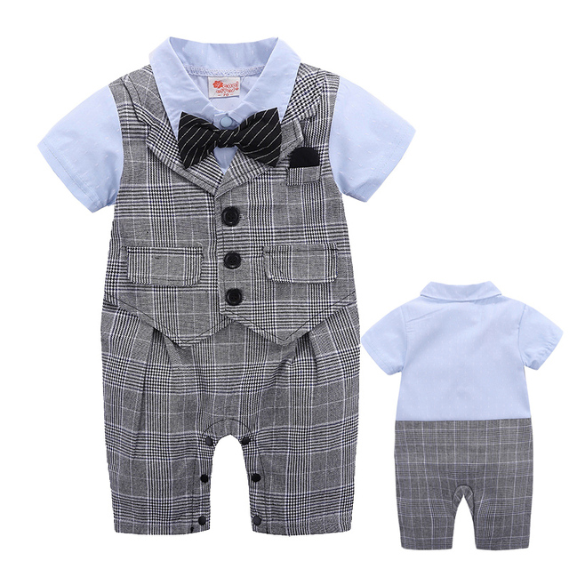 8e3e598c19d Baby Boy Clothing Toddlers Clothes Infant Short Sleeve Romper Gentleman  Design Lattice Bowtie Dinner Suit Ring Bearer Clothes
