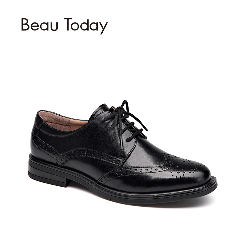 BeauToday Genuine Cow Leather Brogue Shoes Handmade Lace-Up Wingtip Round Toe Waxing Calfskin Top Quality Brand Shoes 21086 d knight lace up brogue shoes women wingtip round toe genuine cow leather mixed colors casual flats for ladies gilrs size 33 45