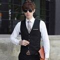 Nova marca men suit vest colete casual de Alta Qualidade vestido sem mangas slim fit coletes para homens big tamanho 3xl