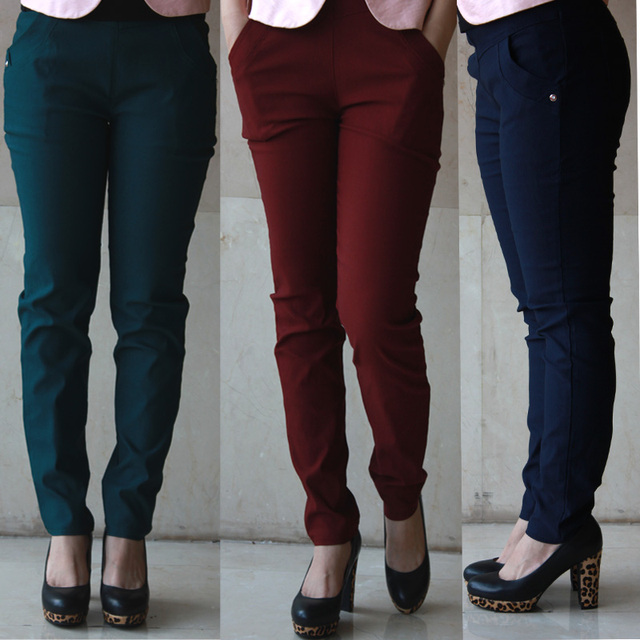 f9c8823adb4c4 New 2018 Spring Summer Women Plus Size Pants Slim Skinny Harem Pants  Elastic High Waist Casual