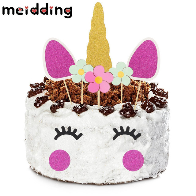 meidding 1set cartoon colorful unicorn cake topper christmas decor kids girl birthday party baby shower unicorn