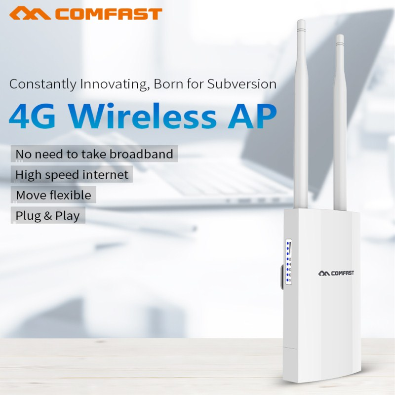 300Mbps Portable 4G SIM Card Wireless AP WiFi Router IP66 Waterproof Outdoor 2.4G LTE Wireless AP Wifi Router Plug And Play Ap