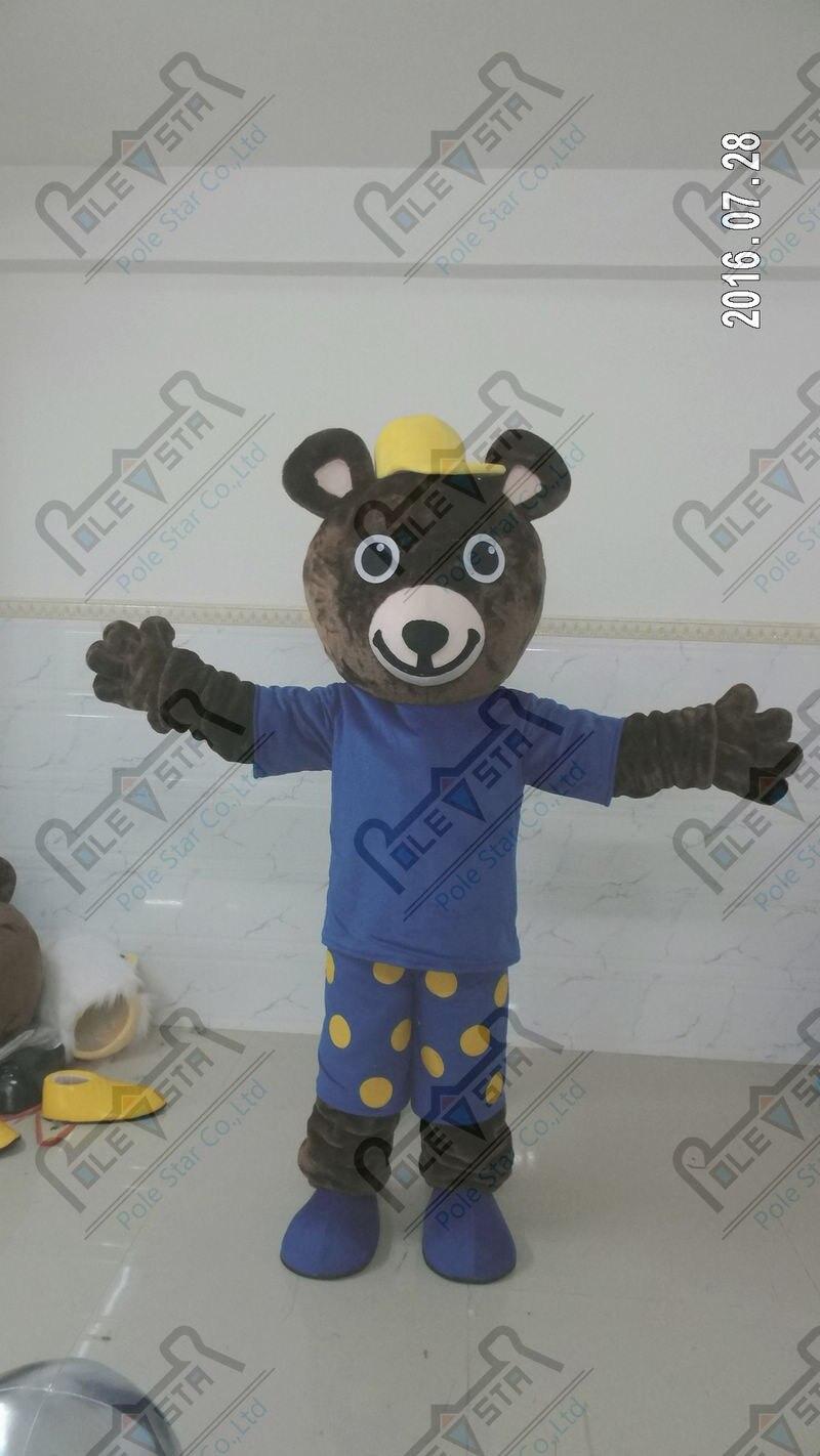 Голубая звезда медведь маскарадный костюм этикет Builder мишки ходьба актер длинные плюшевые волосы животных костюмы