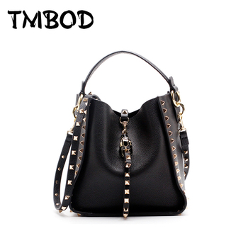 New 2019 Designer Classic Tote Small Bucket with Studs Women Split Leather Handbags Ladies Messenger Bags For Female an886