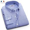 LANGMENG 100% Cotton Striped Shirt Mens Long Sleeve Business Dress Shirts Male Casual Shirts Brand Clothing Masculina Camisa
