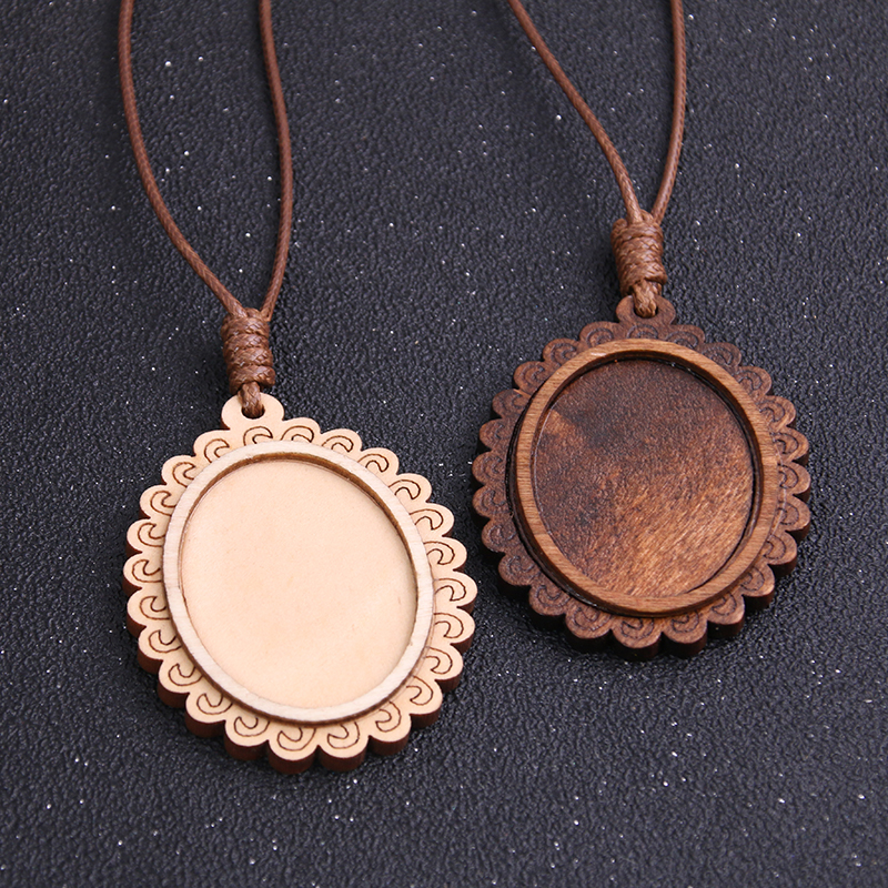 1pcs 30*40mm Inner Size Wood Cabochon Settings Blank Cameo Pendant Base Trays With Leather Cord For Jewelry Necklace Making