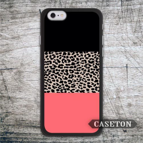 Leopard Print Black and Coral Protective Case For iPhone 7 6 6s Plus 5 5s SE 5c and For iPod 5 High Quality Ultra Classic Cover