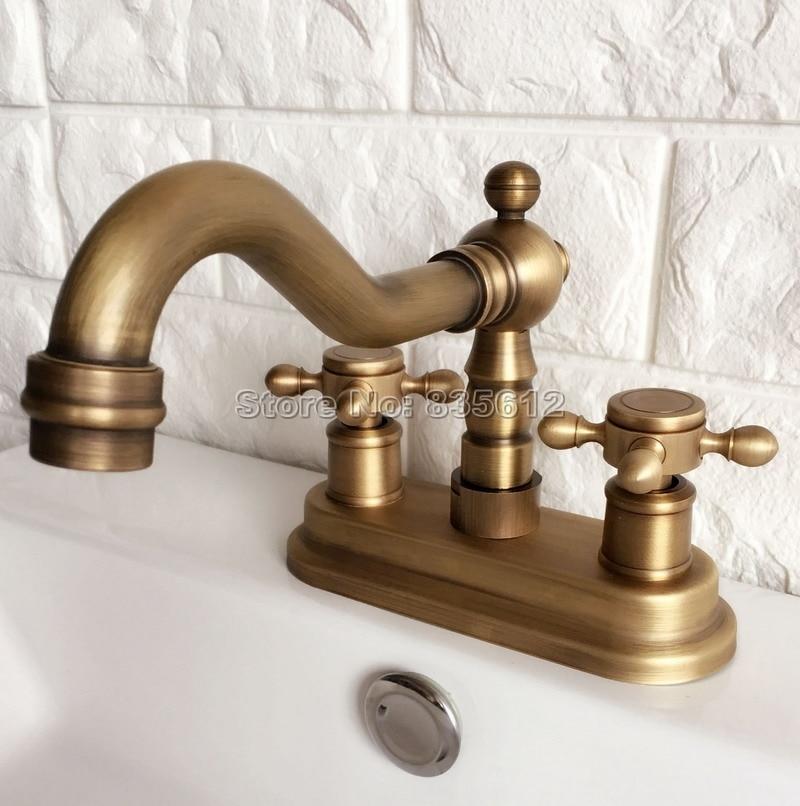 Classic Antique Brass 4 Centerset Bathroom Basin Mixer Sink Faucet
