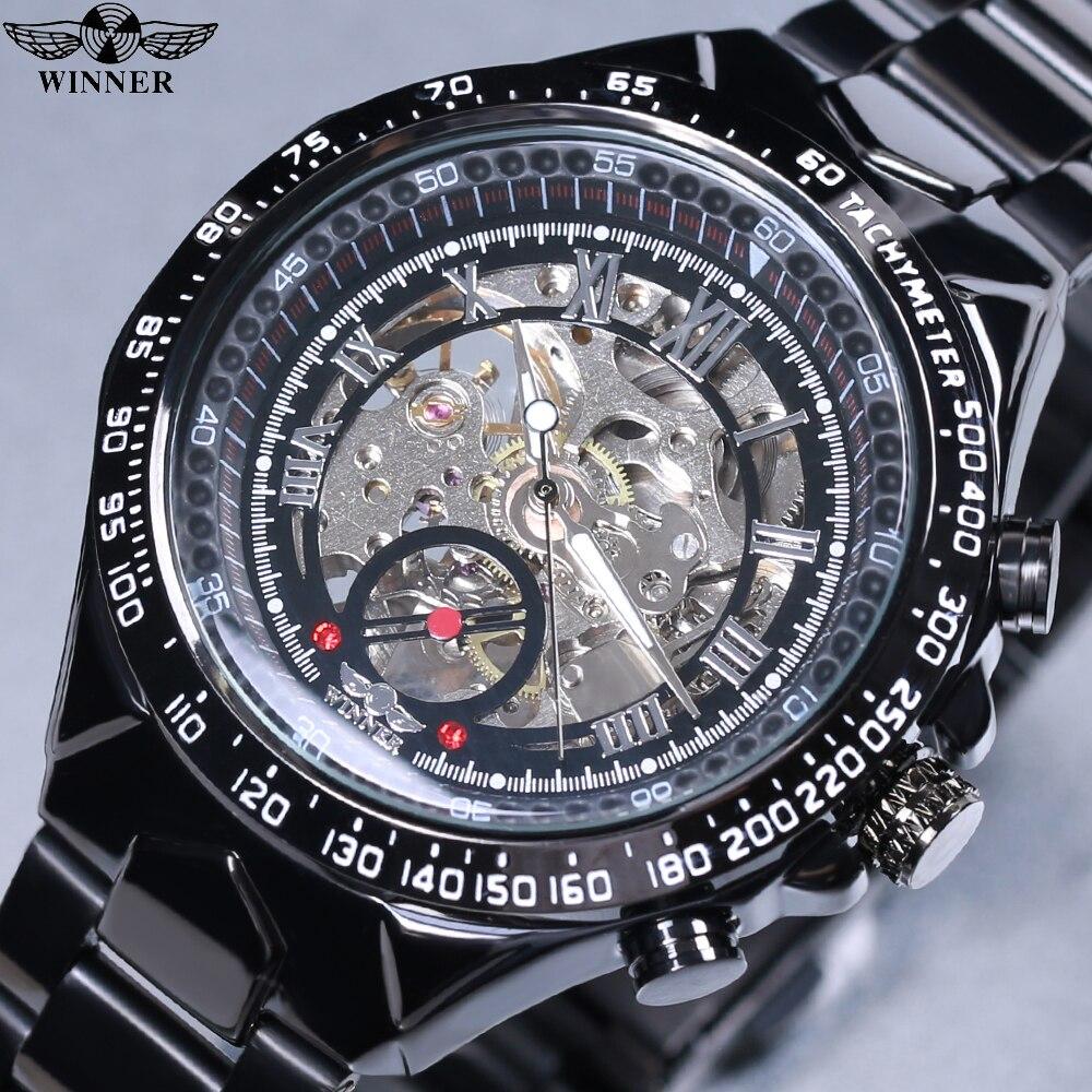 2018 Winner noir cadran squelette hommes montres Top marque de luxe en acier inoxydable Sport Montre Homme horloge hommes Erkek Kol Saati