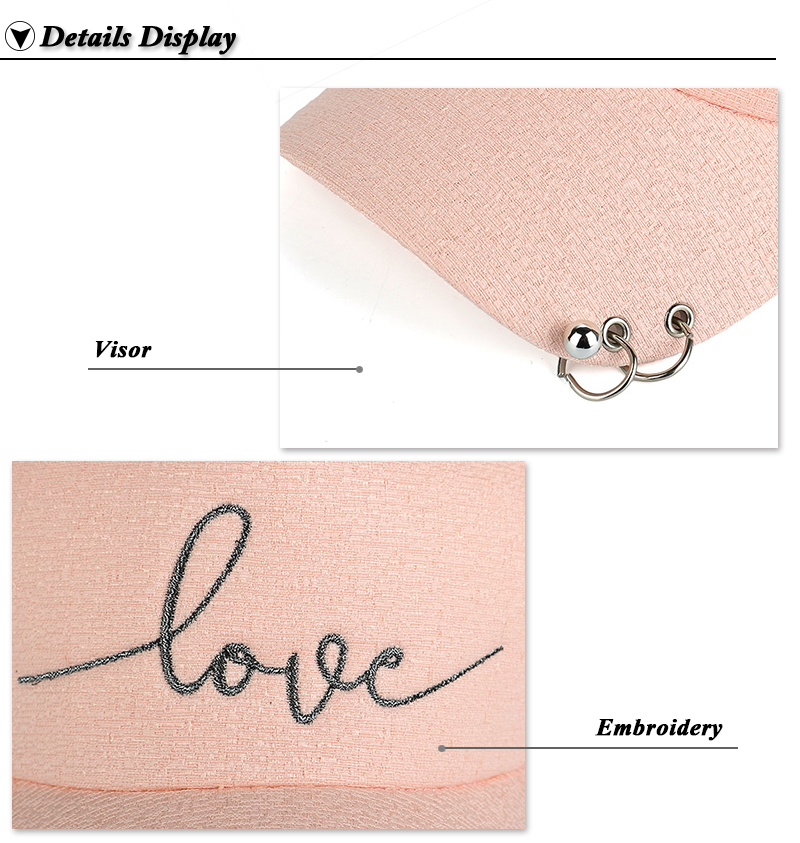 """Embroidered """"Love"""" Snapback Cap with Rings - Peach Cap Brim and Embroidery Views"""