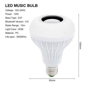 Image 2 - Akıllı E27 12W ampul LED ampul RGB ışık kablosuz Bluetooth ses hoparlör müzik çalma dim lamba ile 24 anahtar uzaktan kontrol