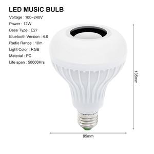 Image 2 - Smart E27 12W Ampul Led Lamp Rgb Licht Draadloze Bluetooth Audio Speaker Muziek Dimbare Lamp Met 24 Key afstandsbediening
