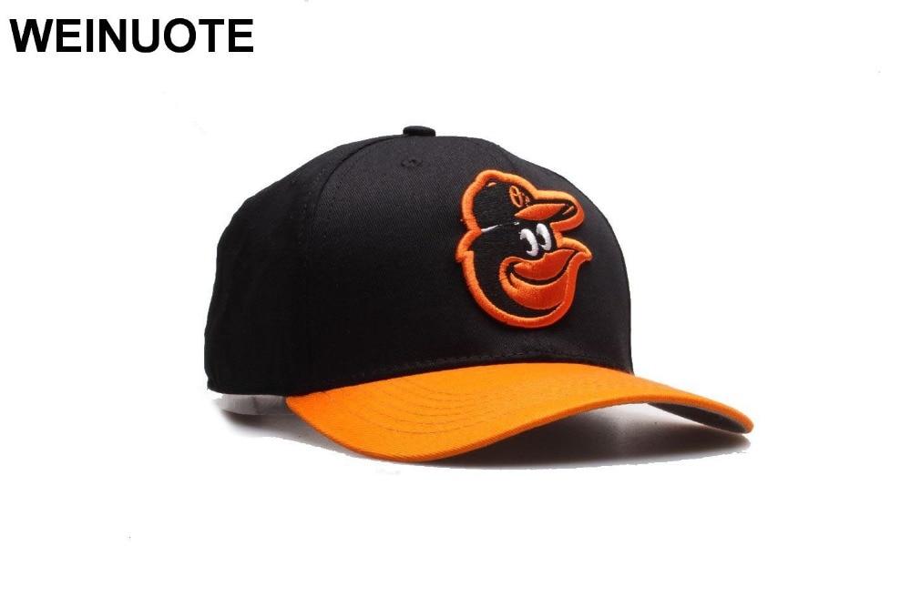 8d4fb4fe8dff1 Homens Baltimore Orioles Laranja Moda Chapéu de Aba do boné de Beisebol  Strapback Chapéus Pretos Esporte