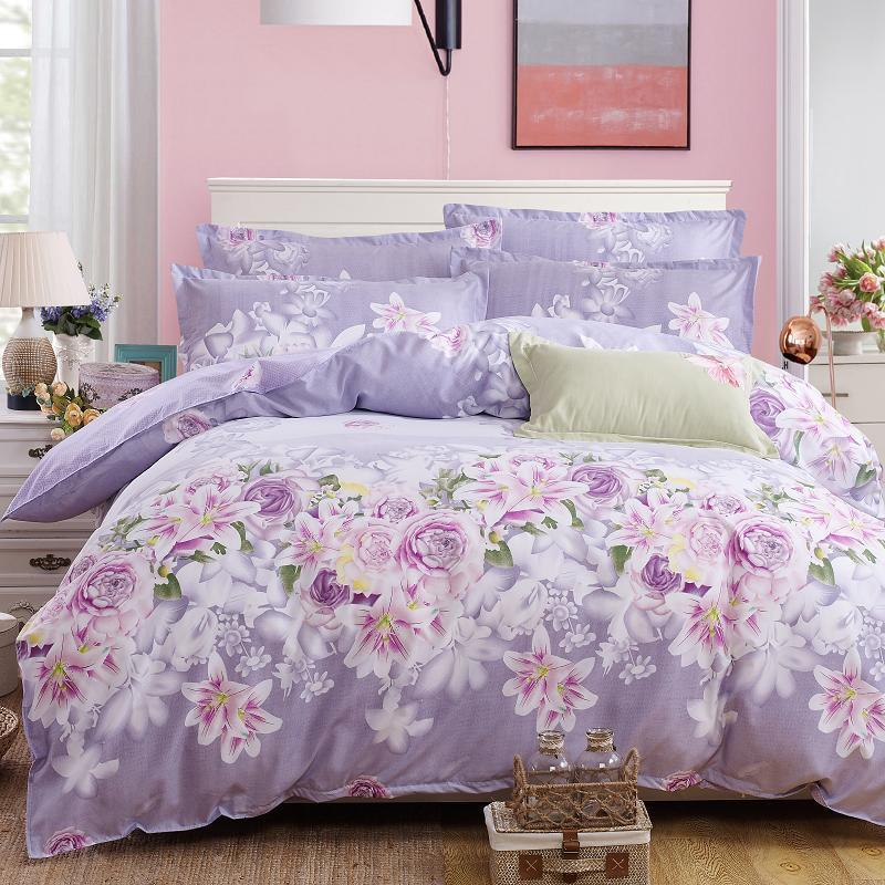 Flowers Printed Lovely Home Cozy Textile Bedding Sets Duvet Cover Pillowcase Sheet Linen Twin Full Queen King Size 4Pcs