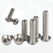 20pcs M4 Bolt A2-70 ISO7380 Button Head Socket Screw SUS304 Stainless steel M4*5-50mm with Hex Nut