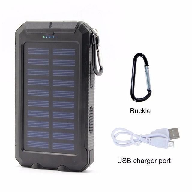 Impermeable Brújula Adjunta Doble Salida USB Banco de la Energía Solar