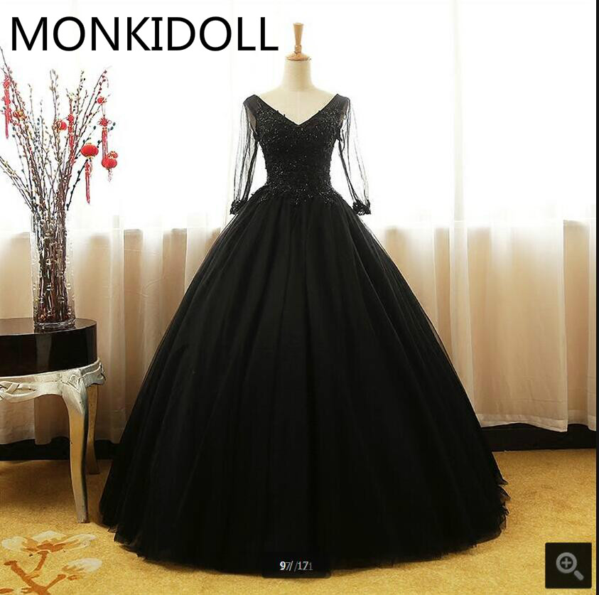Ball-Gown Prom-Dress Modest Beading Appliques Black Lace Puffy Vintage 3/4-Sleeve New-Arrival