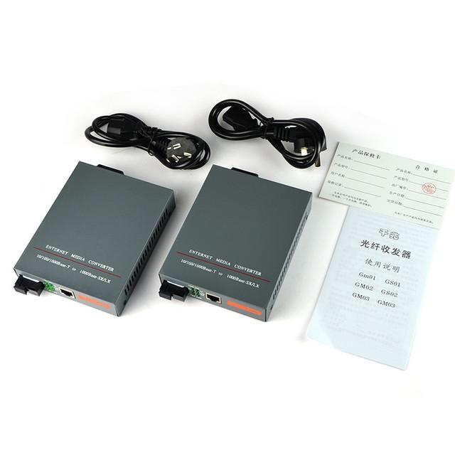 HTB-GS-03 A/B Gigabit Monomodo Dúplex de Fibra Óptica Media Converter 1000 Mbps Puerto SC 20 KM de Potencia Incorporado suministro de 1 Par
