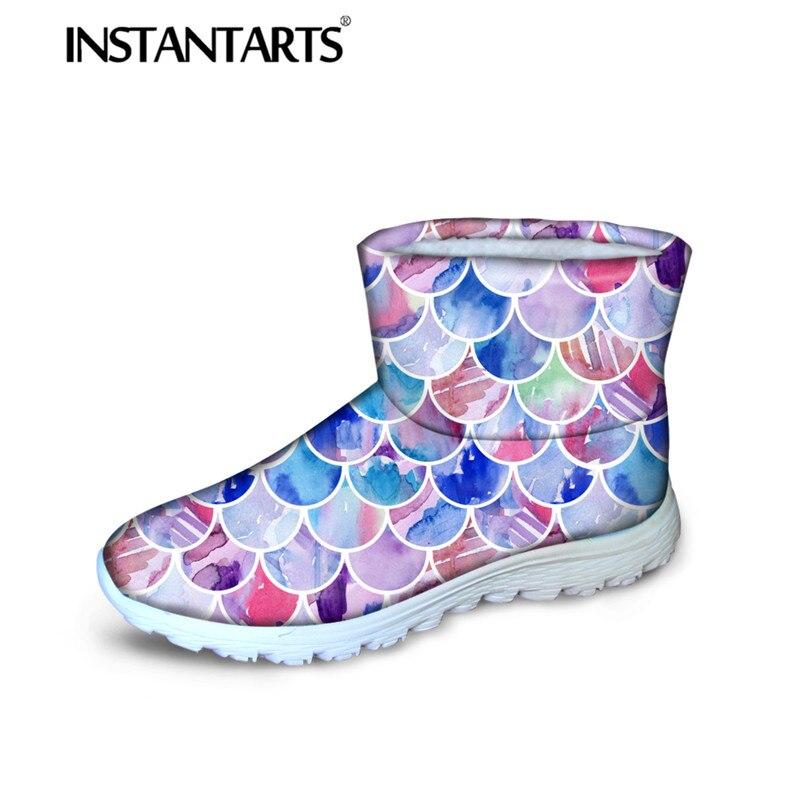 INSTANTARTS sirènes écailles Design femmes chaud épais coton court bottines hiver neige bottes pour adolescente fille antidérapant appartements